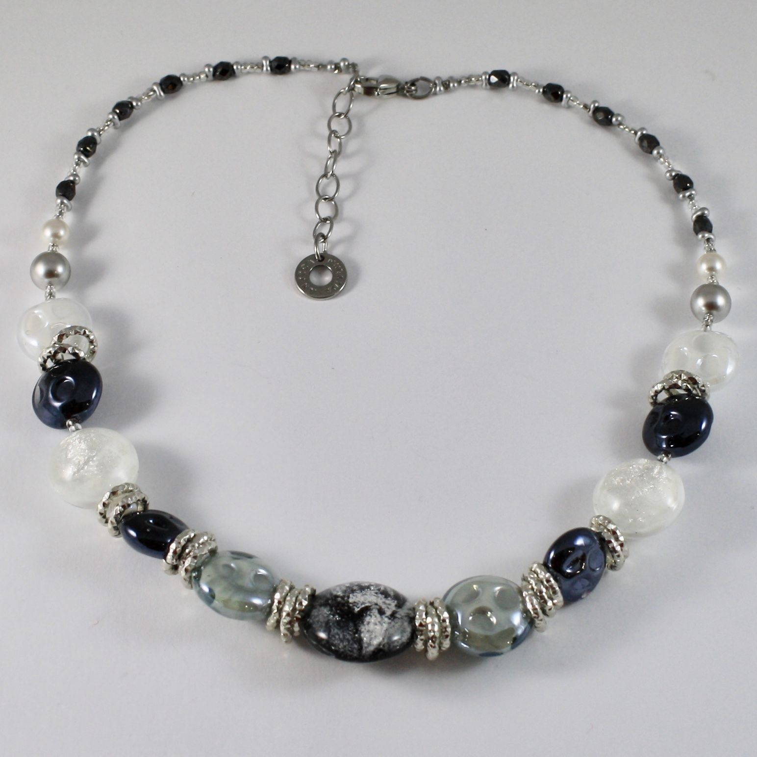 NECKLACE ANTICA MURRINA VENEZIA WITH MURANO GLASS BLACK GREY CO855A14