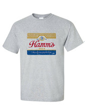 Hamm's Beer T-shirt retro vintage style distressed print grey graphic tee image 1