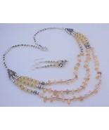 Cream Jade Beaded Handmade Necklace Jewelry 44 Gr. F-250 - $7.05