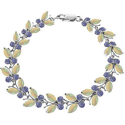 14K. WHITE GOLD BUTTERFLY BRACELET WITH OPALS & TANZANITES