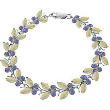 14K. WHITE GOLD BUTTERFLY BRACELET WITH OPALS & TANZANITES - $747.00+