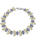 14K. WHITE GOLD BUTTERFLY BRACELET WITH OPALS & TANZANITES - £562.60 GBP+