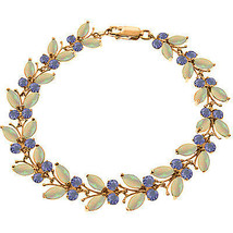 14K. ROSE GOLD BUTTERFLY BRACELET WITH OPALS & TANZANITES - $747.00+