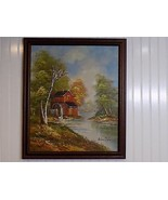 Vintage Framed Signed BRIAN ROCHE Oil on Canvas Painting Watermill Scene - $173.25