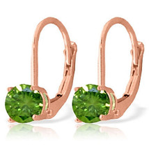 1 Carat 14K Rose Gold Leverback Earrings 1.0 Carat Green Diamond - $1,485.00