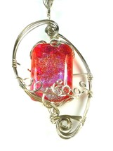 ORANGE & PINK FUSED GLASS PENDANT WIRE WRAPPED STERLING SILVER - $39.60