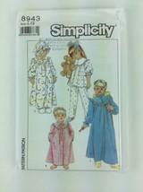 Child's Girls Pajamas Robe Nightgown Hat UNCUT Simplicity 8943 sz LG PA93 - $6.57
