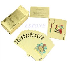 24K Gold Cool Foil Plated Poker Deck Collection US Dollors Playing Cards - $10.00