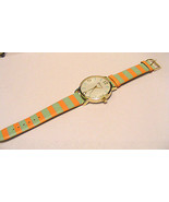 GENEVA BRIGHT MINT AND PEACHY STRIPED LEATHER STRAP BAND WATCH LARGE DIA... - $10.88