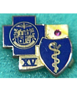 Vintage Medical Professional 15 yr Service Lapel Pin 10k 1.68 Ruby Caduc... - $29.50