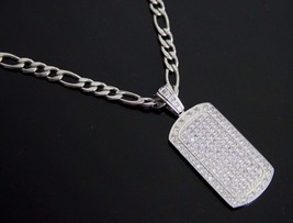 """18""""-36"""" MEN Stainless Steel 6mm Silver Figaro Link Chain CZ ICED Dog tag... - €23,41 EUR+"""