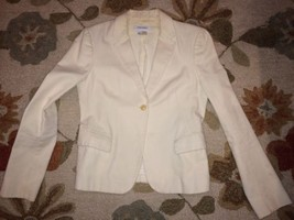 ZARA Woman Cream 100% Cotton Pique Single Button Blazer Size 6 Preowned - $8.49