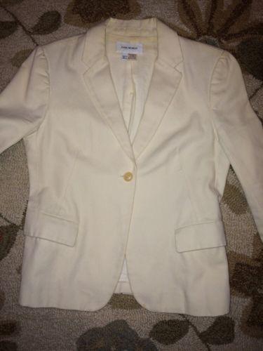 ZARA Woman Cream 100% Cotton Pique Single Button Blazer Size 6 Preowned