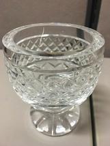 Clear cut Crystal Glass CANDLEHOLDER VINTAGE diamond cut antique MCM - $21.77