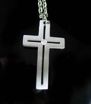"""Vintage Modernist Cross Mens 2""""pendant and 24"""" silver chain two sided CZ... - $85.00"""