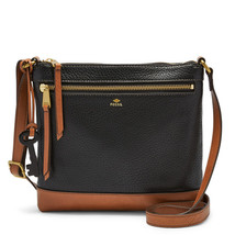 Fossil Black Leather 1 Zipper Pocket Zipper Closure Mother's Day Crossbody - $235.99