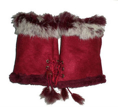 JTC Women's Burgundy Rabbit Fur / Suede Half Gloves Arm Warmers Hand War... - $159,32 MXN