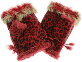 JTC Women's Red Leopard Rabbit Fur / Suede Half Gloves Arm Warmers Hand ... - $171,82 MXN
