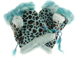JTC Women's Blue Leopard Rabbit Fur / Suede Half Gloves Arm Warmers Hand... - $159,32 MXN