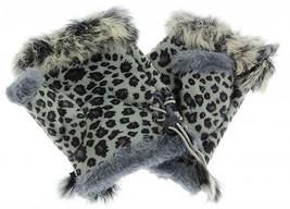 JTC Women's Grey Leopard Rabbit Fur / Suede Half Gloves Arm Warmers Hand... - $159,32 MXN