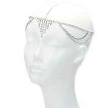 Silver Chain Rhinestone Fringe Drape Goddess Hair Crown Head Chain USA S... - $8.50