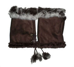 JTC Women's Brown Rabbit Fur / Suede Half Gloves Arm Warmers Hand Warmers - $171,82 MXN
