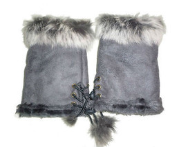 JTC Women's Grey Rabbit Fur / Suede Half Gloves Arm Warmers Hand Warmers - $171,82 MXN