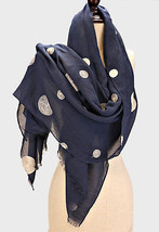 Women's Navy Blue Polka Dot Embroidered Viscose Scarf - £12.92 GBP
