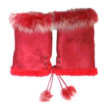 JTC Women's Red Rabbit Fur / Suede Half Gloves Arm Warmers Hand Warmers - $272,90 MXN