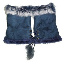 JTC Women's Blue Rabbit Fur / Suede Half Gloves Arm Warmers Hand Warmers - $232,47 MXN