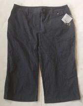Liz Claiborne Cropped Pants 12 New Capris Indigo Multi Pinstripe NWT Slacks - $22.76