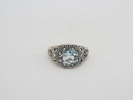 Vintage Sterling Silver Round Aquamarine Filigree Ring Size 6 - $60.00