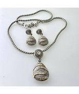 Earrings and Pendant Necklace Set with Cubic Zirconia Two Tone  - $39.59