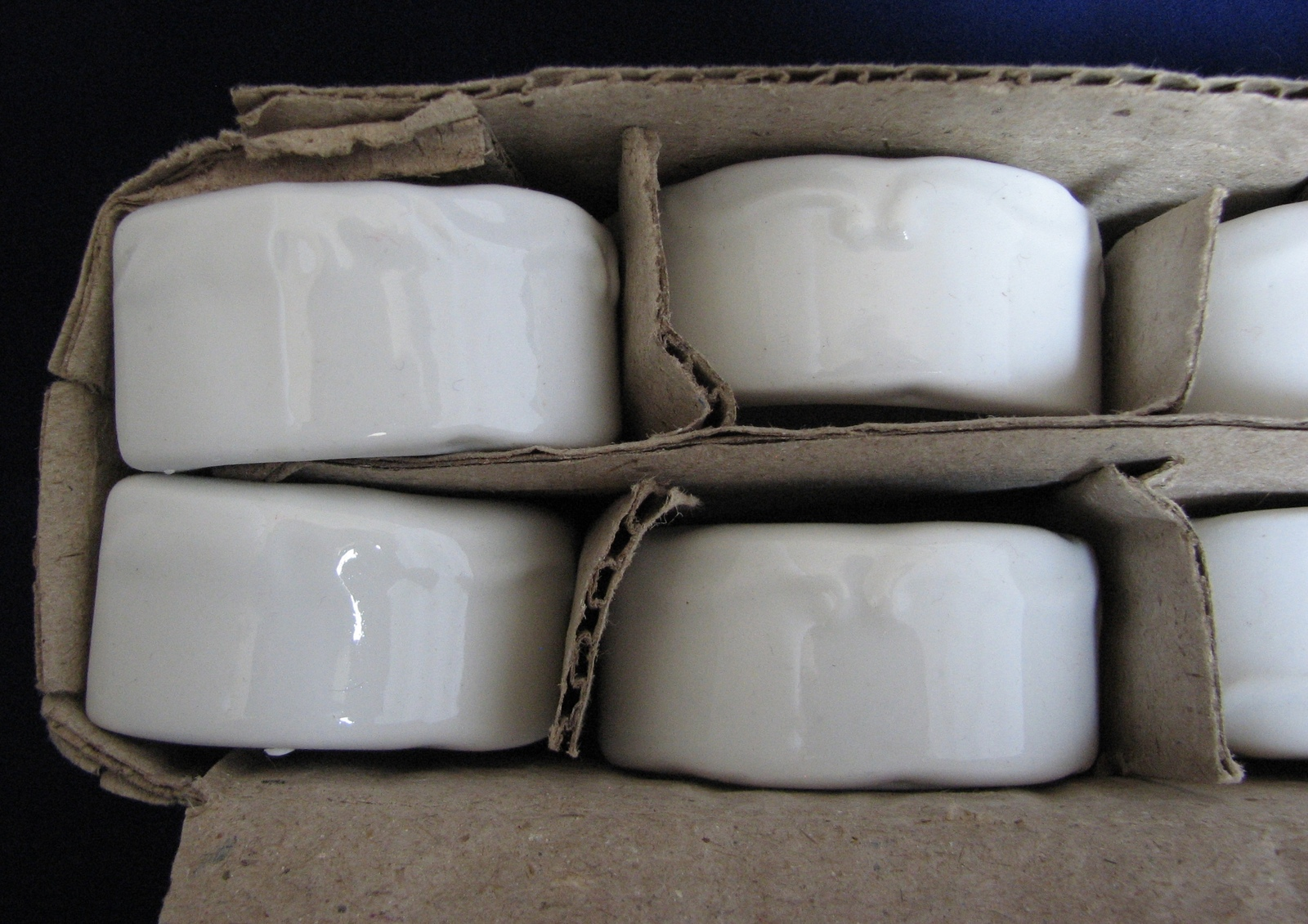 Vintage Napkin Holders White Porcelain Set of 6 Rings