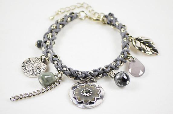 Bracelet Acrylic Flower Rhinestone-Pendant Charm Bracelets