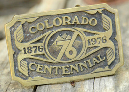 Colorado Centennial Brass Belt Buckle-Mountains-Denver CO USA-1976 - $55.95