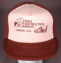 Monks Construction Company, Limon, CO Hat-Brown/Tan-All Foam-Snapback-Po... - $19.72