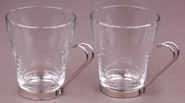 Pair of Glass Mugs-Bormioll Rocco-Tempered-Italy-Metal Handels-Tea Coffee - $14.01