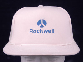 Rockwell Logo Hat-Adjustable Trucker Hat-White-Rope Bill-Polyester - $15.79