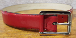 "Nine West-Genuine Leather Belt-Size S 29-32""-Red-Metal Buckle-323012 - $30.84"