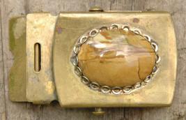 Vintage Brass w Beveled Stone Belt Buckle-US RAU-Great Look- - $34.45