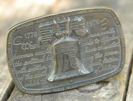 Liberty Bell Brass Belt Buckle-1975 Wyoming Studio Art Works-USA-James Lind - $27.90