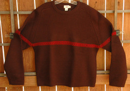 J Crew Sweater-XL-Hand Knit 100% Wool-Dark Brown w Red Stripe - $93.17