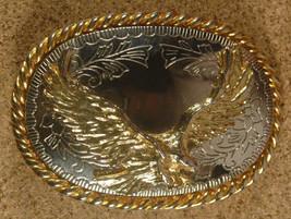 VTG Soaring Bald Eagle Belt Buckle-Gold/Silver Tone-Belt Buckle-Western-... - $23.23