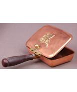 Vintage Copper Silent Butler Lidded Ashtray Coppercraft Brass Trim Wood Handle - $18.69