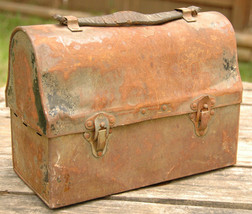 Antique Vented Metal Lunch Box Black w Leather Handle Workers Miners-Vin... - $55.74