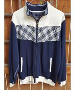 American Classics Russell Simmons Sweatshirt-XL 46-48-Blue White-Zip-Plaid- - $27.73