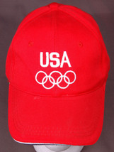Olympics Team USA Hat-Velcro-Red-Vintage-Baseball Cap-Embroidered-5 Ring... - $18.92
