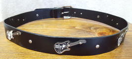 "Electric Guitar-Bonded Leather Belt-Size M 31-35""-Black-Redhead Rebels-I... - $23.36"