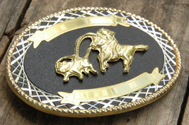 Rodeo Thophy Belt Buckle-Blank-Black & Gold-Calf Roping-Lasso-Cowboy Wes... - $23.23